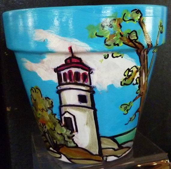 "Marblehead Lighthouse - 6"" Original Hand Painted Flower Pot"