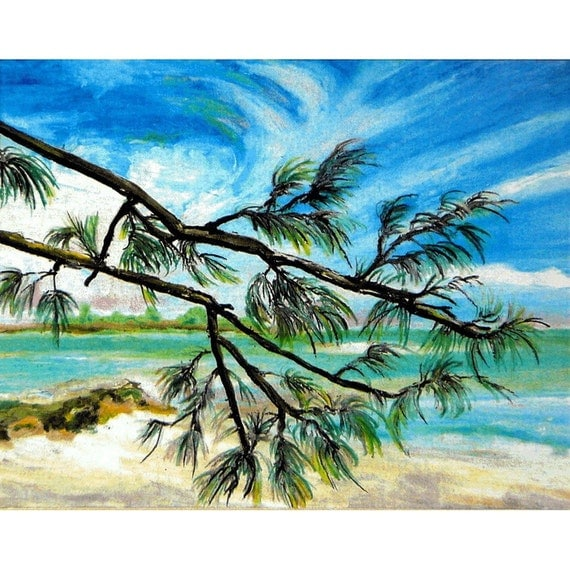 White Sand, Blue Skies and Turquoise Water - Andros Island, Bahamas. Reproduction of Original