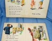 2 Vintage Laminated Book Page Placemats - Dick & Jane