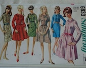 1960's Simplicity 6833 Vintage Sewing Pattern - UNCUT - Button Front Dress