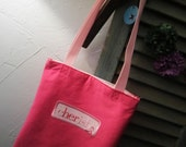 15% off- use code SAILAWAY15 - Cherish - Breast Cancer awareness - RE-USEABLE - recycled T shirt tote bag, gift bag
