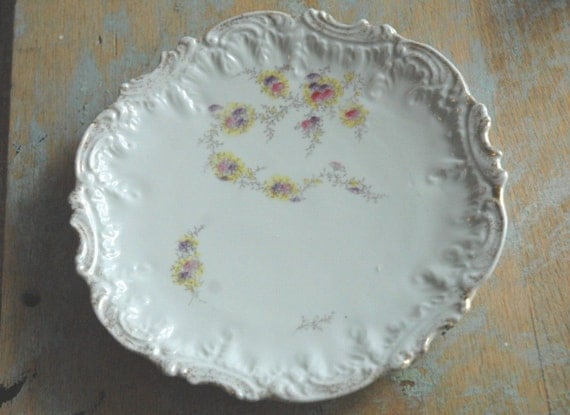 Pink Scroll china Plate with flowers