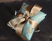 Robin's Egg Blue Embroidered Silk Dupioni Fleur de Lis Dried Lavender Sachet