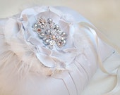 Something Blue Ring Pillow and Detachable Fascinator