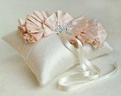 Blush Pink Silk Ruffle Ring Bearer Pillow