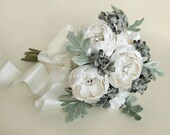 Small White Catala Bloom Bridal Bouquet w/ Silver Hydrangea and Velvet Leaves - Made to Order