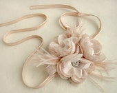Blush Bloom, Feather and Vintage Lace Trio on Champagne Ruched French Silk Trim - SAMPLE SALE