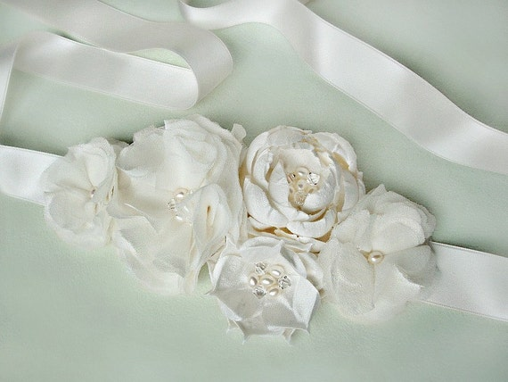 Bella Romantica Pearl and Crystal Bridal Sash or Headband in White or Ivory