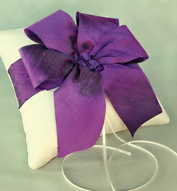 Alena Silk Dupioni Ring Pillow in Purple and Ivory - SAMPLE SALE