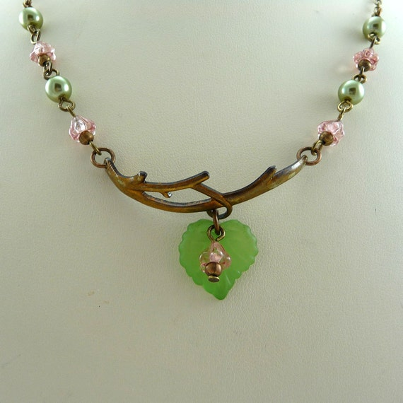 Olivine Pearls and Flowers Branch Necklace
