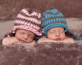 Infant Knit Hat Twin Pair-Pink and Taupe and/or Blue and Taupe Earflap Hats-Great photography prop-Made to order