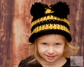 Bumble Bee Pom Pom Beanie/Hat Toddler sizes-Photography Prop-Made to order