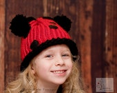Ladybug Pom Pom Beanie/Hat Toddler sizes Photography Prop-Made to order