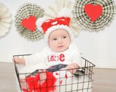Red Pom Pom Knit Hat with white felt heart applique-Preemie-12 month sizes-Photography Prop-Made to order