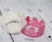 Vintage Inspired Pearl & Rose Pink Lace Crown/Tiara set newborn, baby or child photography prop/birthday accessory/Keepsake