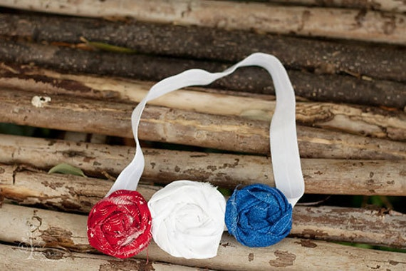Red, White, and Blue Patriotic fabric headband for babies-adults-great photography prop-patriotic/Olympics-Made to order
