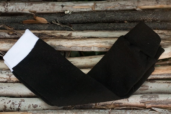 Tot Leggings-Solid Black with white band-Leg Warmers/Arm Warmers for boys and girls/Babies-Children/Great Photography Prop
