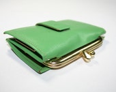 Vintage Lime Cowhide Leather Amity Coin Purse and Key Holder
