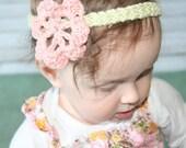 Precious Organic Flower Headband in infant and big kid sizes