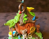 Pumpkin Mouse House Handmade Miniature Collectible One-Of-A-Kind Fantasy Faerie Whimsy House Sculpture