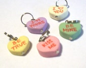 5 Faux Candy SweetHearts Custom Charms Five Handcrafted and Lettered Charms Ready to Wear