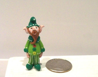Tall Green Elf Artisan Miniature Art Doll Miniature Figurine 1 Inch Scale