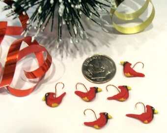 6 Cardinal Birds Micro Miniature Dollhouse Holiday Decor Tiny Gifts 1:12 Scale Detailed Hanging Tree Ornaments