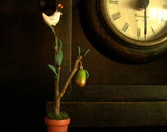 Tiny Partridge in a Pear Tree - OOAK 1 Inch Scale Artisan Decoration for Holiday Home or Garden Tiny Gift