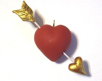 Cupid's Puffy Heart and Golden Arrow Art Jewelry Pendant Hand Sculpted