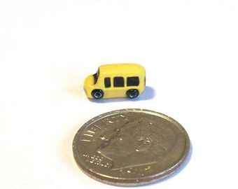 Yellow Mini Van Toy Match Box Vehicle Artisan Sculpted Boy Toy 1 Inch Dollhouse Scale Child Toy