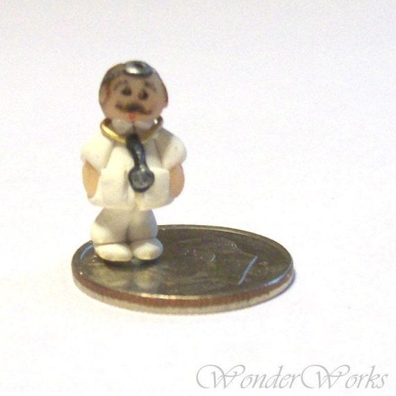 Micro Doctor - For a Tiny Bit of Medicine - Handsculpted OOAK Figure