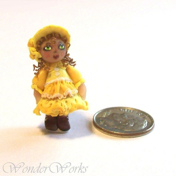 1:12 Dollhouse Miniature Victorian Baby Doll in Lacey Yellow - OOAK Hand Sculpted Original Doll