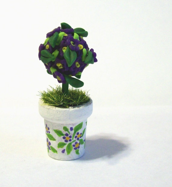 Miniature Topiary Sweet Violets Tree,  Artisan Flowers, Dollhouse Decor, Cottage Chic, Hand Painted, Wooden Pot