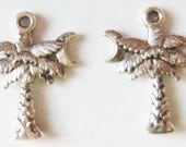 8 Palm Tree Charms w/ Crescent Moons (double sided) 21X14mm