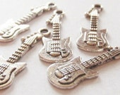 10 Electric Guitar Charms 30x10mm