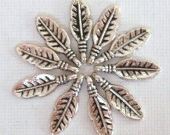25 Small Feather Charms 16X6mm