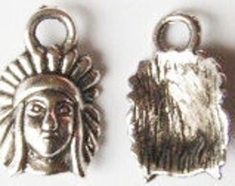 10 Indian Chief Charms 16x10mm ITEM:AF24
