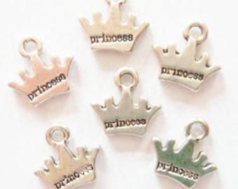 12 Princess Crown Charms 13x10mm