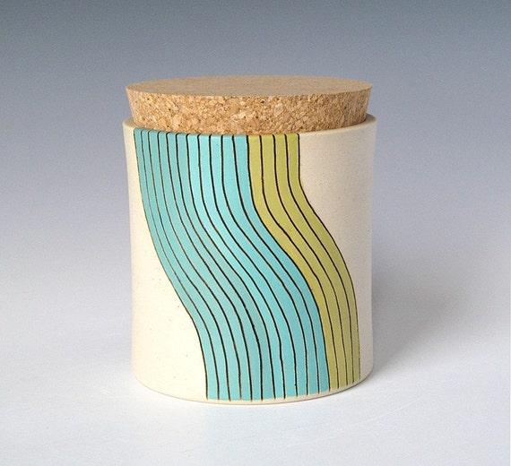 medium cork jar - wave design
