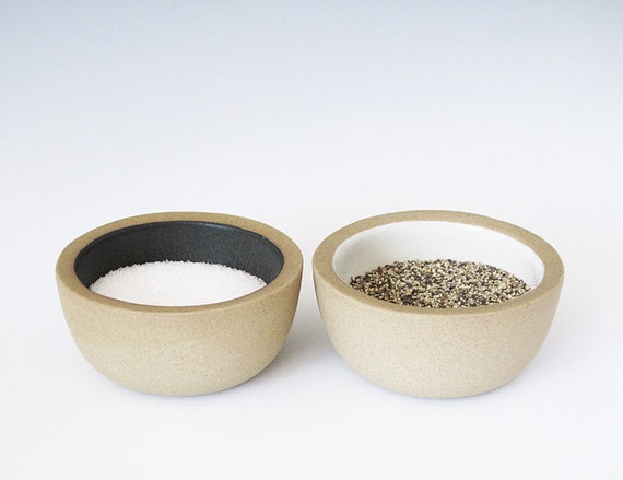 salt and pepper bowls. (black & white)