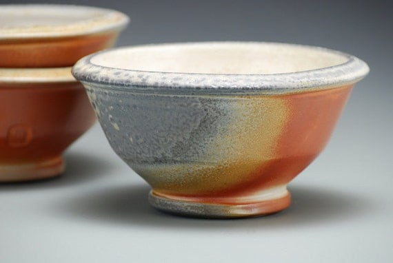 Small Bowl, wood fired, earth tones, wheel thrown porcelain