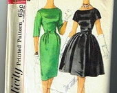 Vintage Simplicity pattern 3592 size 12 juniors and misses one piece dress with two skirts 1950's