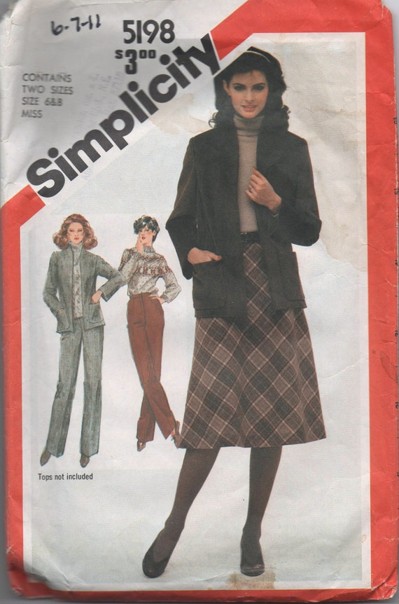 1980s VINTAGE pattern Simplicity 5198 size 6 8 misses straight leg pants bias skirt and unlined jacket