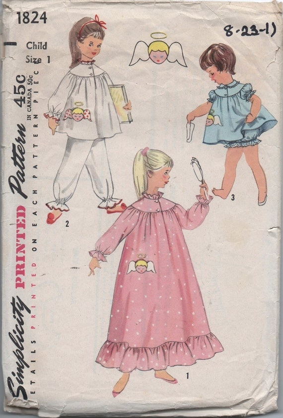 1950s VINTAGE pattern Simplicity 1824 size 2 chest 21 girls pajamas nightgown in two lengths and panties - baby doll angel transfer