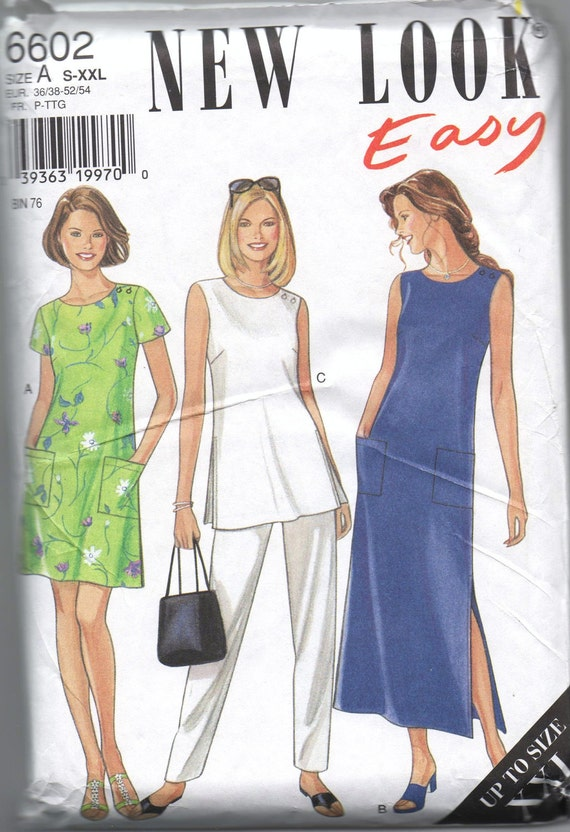 NEW UNCUT pattern New Look Simplicity 6602 misses dress in two lengths tunic and pants sizes s m l xl xxl size 10 12 14 16 18 20 22 24 26 28