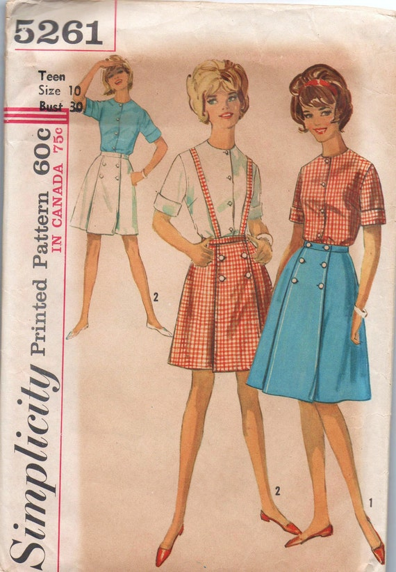 1960s vintage pattern Simplicity 5261 size 10 bust 30 waist 24 hip 32 Teens and juniors front wrap skirt in two lengths and blouse Mad Men