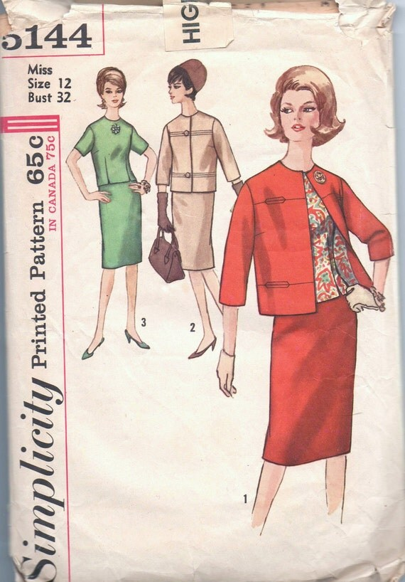 1960s vintage pattern UNCUT Simplicity 5144 size 12 bust 32 waist 25 hip 34 Misses' and Women's Suit and Overblouse Mad Men