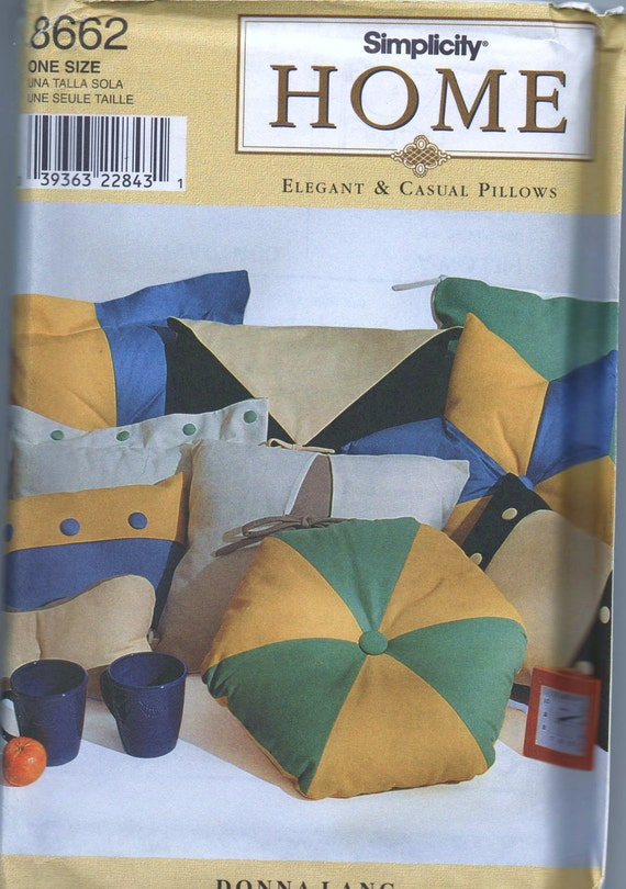 VERY RARE 1990s new UNCUT pattern Simplicity Home 3662 one size elegant and casual pillows designer Donna Lang