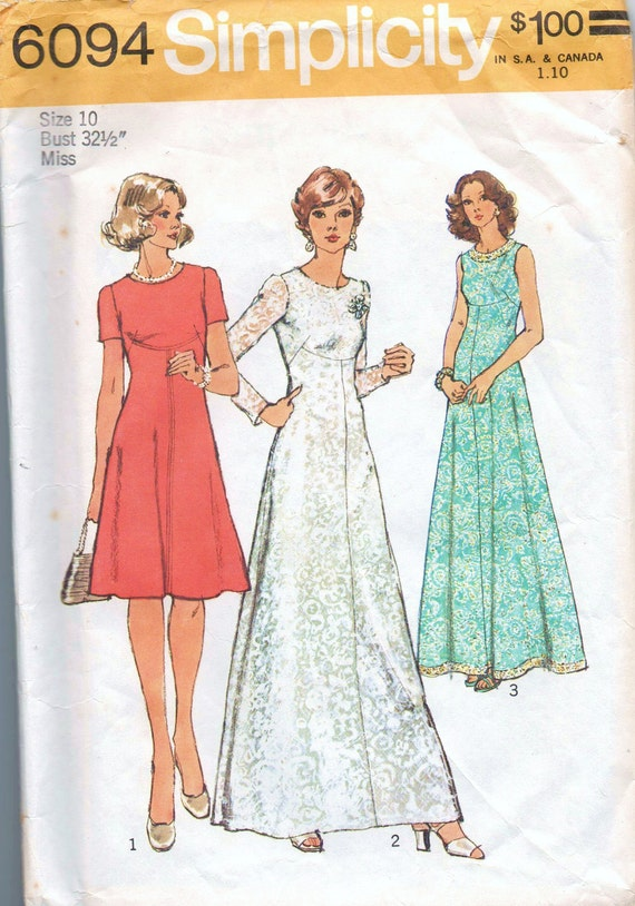1970s vintage pattern Simplicity 6094 size 10 bust 32 1/2 waist 25 hip 34 1/2 Miss petites and misses dress in two lengths