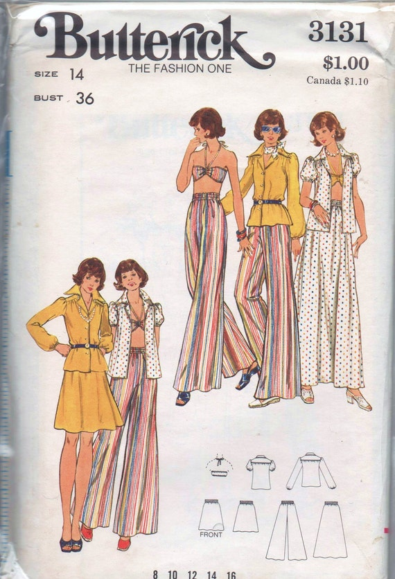 VERY RARE 1970s vintage UNCUT pattern Butterick 3131 size 14 bust 36 Misses blouse halter top skirt and pants